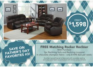 FATHER'S DAY FAVORITES #3 > FREE MATCHING Rocker RECLINER with purchase 2pc Reclining Sofa and Reclining Loveseat in chocolate champion fabric