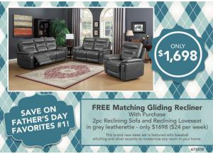 FATHER'S DAY FAVORITES #1 > FREE MATCHING Glider RECLINER with purchase. 2pc Reclining Sofa and Reclining Loveseat in gray leatherette