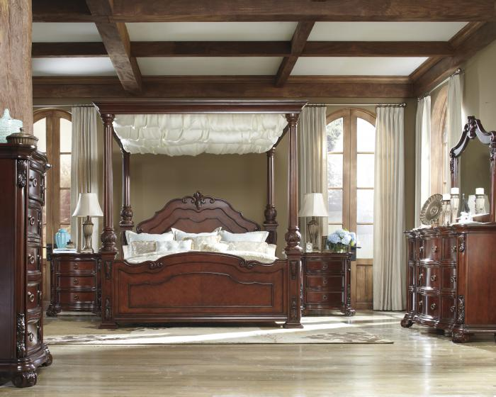 Ashley Martanny King Canopy Bed, Dresser, Mirror, Chest, Nightstand,Ashley Clearance