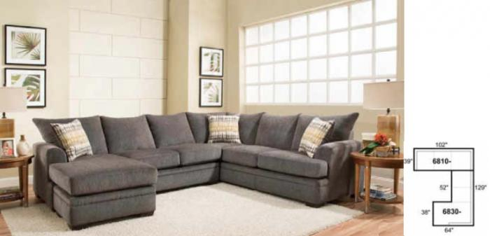 American Perth Smoke 3pc Sectional,American Furniture Manufacturing
