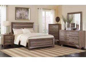 Washed Taupe King Bed Frame