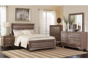 Washed Taupe Queen Bed Frame