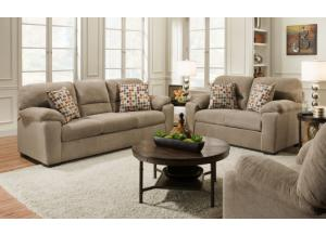 American Beethoven Taupe Sofa & Loveseat