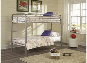 Kith Twin Silver Metal Bunkbed w/ Two Twin Mattresses