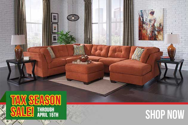 Delta City Rust Right Arm Facing Corner Chaise Sectional