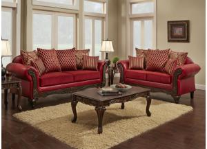 U234 Red Sofa and Loveseat