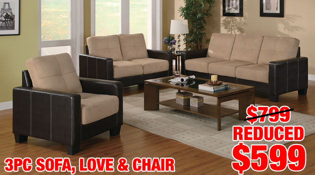 3 pc Sofa, Loveseat and Chair