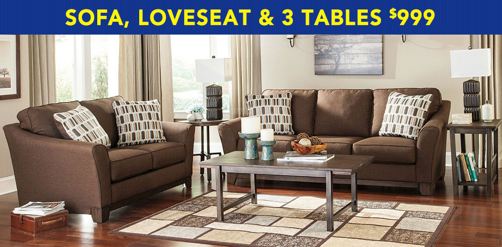 Sofa, Loveseat & 3 Tables