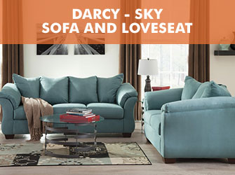 Darcy Sky Sofa and Loveseat