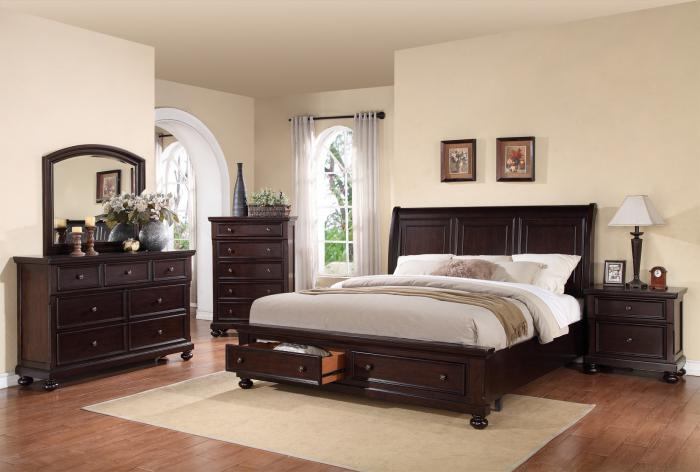 Queen Storage Sleigh Bed, Dresser, Mirror, Chest 1 Night Stand,Cohen's Closeout Specials