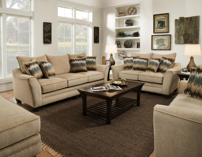 Perth Oatmeal Sofa & Loveseat ,American Furniture