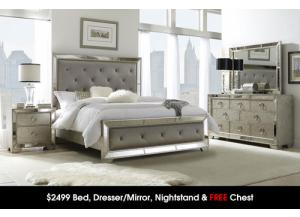 $2499 Bed, Dresser/Mirror, Night Stand & FREE CHEST