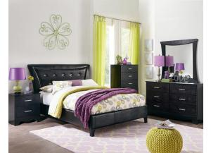 Vogue Dresser, Mirror, & Queen Upholstered Bed