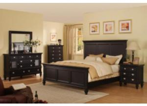 Summer Breeze Black Queen Panel Bed, Dresser, & Mirror,Holland House