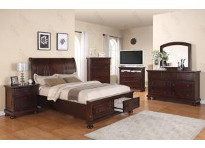 Sleigh Storage Queen Bed,Dresser & Mirror, Chest, 2 Nightstands