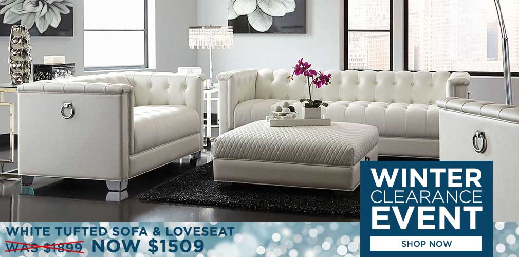 White Tufted Sofa and Loveseat