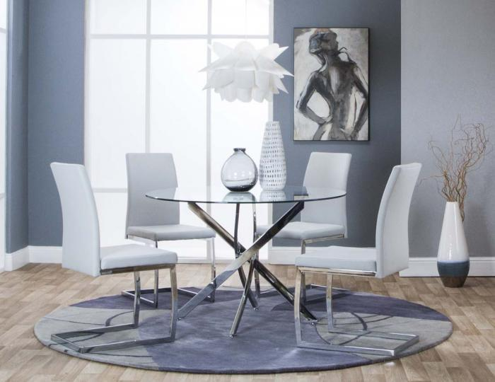 Bravo Dining Table & 4 Gray Chairs,Cramco Dining