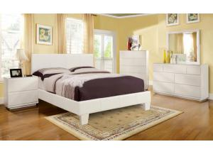 Leatherette Full White Platform Bed