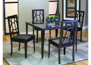 Alayna Java/Black Table & 4 Chairs (5 Piece Set)