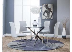 Bravo Dining Table & 4 Gray Chairs