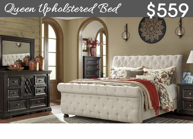 Willenburg Dark Brown King Upholstered Bed w/Dresser and Mirror