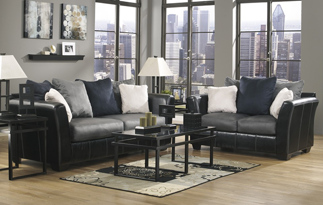 Plush Leather Sofa With Living Room Furniture
