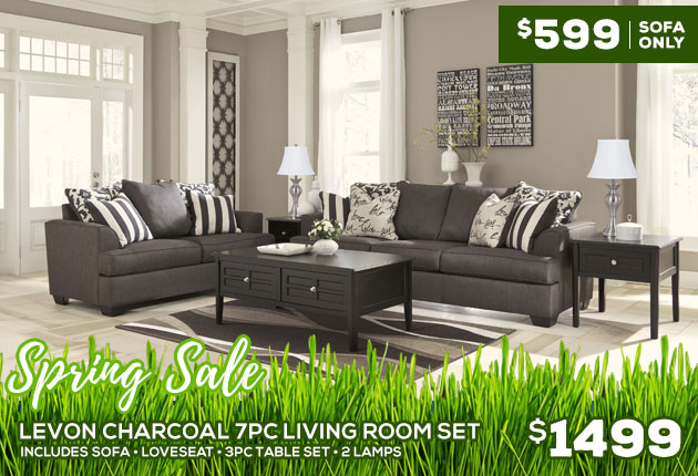 Levon Charcoal 7PC Living Room Set