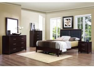 Upholstered Queen Bed w/ Dresser, Mirror, and Nightstand