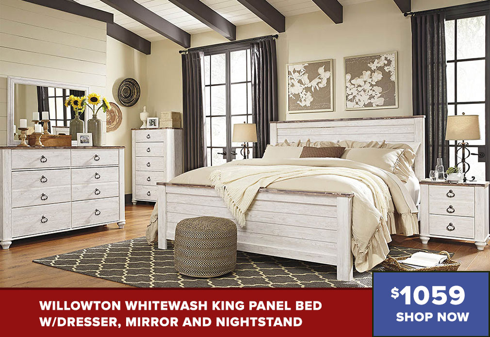 Willowton Whitewash King Panel Bed w/Dresser, Mirror and Nightstand