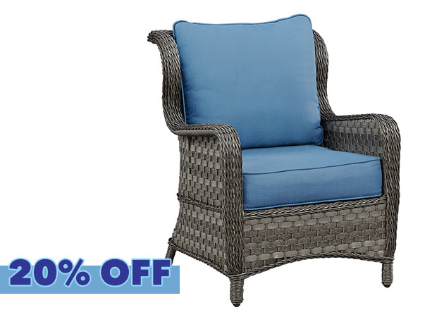 Abbots Court Blue/Gray Lounge Chair w/Cushion
