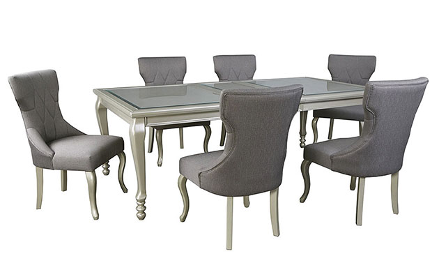 Coralayne Silver Finish Rectangular Dining Room Extension Table w/ 6 Side Chairs