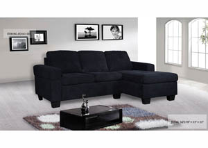 Sectional Black Fabric