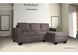 Sectional Brown Fabric