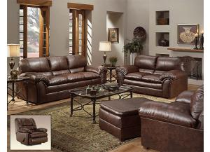Geneva Mahogany Bonded Leather Sofa