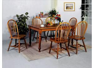 5 Pc Dark Oak Dinette Set (Table & 4 Chairs)