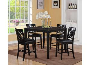 Brooklyn Dark Espresso Counter Height Table w/ 4 Chairs