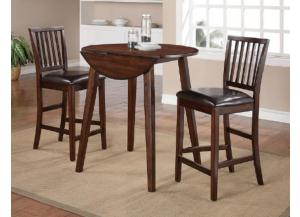 Mango 3Pc Drop Leaf Pub Table Set (Table & 2 Chairs)