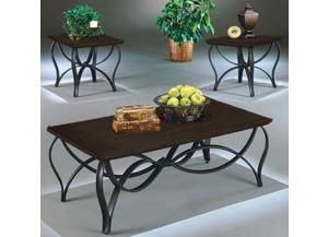 3 Pack Espresso Tables (Coffee Table and 2 End Tables)