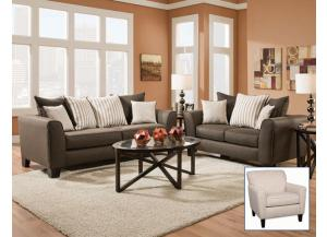 Base Chocolate Sofa and Loveseat
