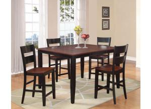 Black & Cherry Counter Height Table w/4 Chairs