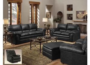 Geneva Onyx Bonded Leather Sofa