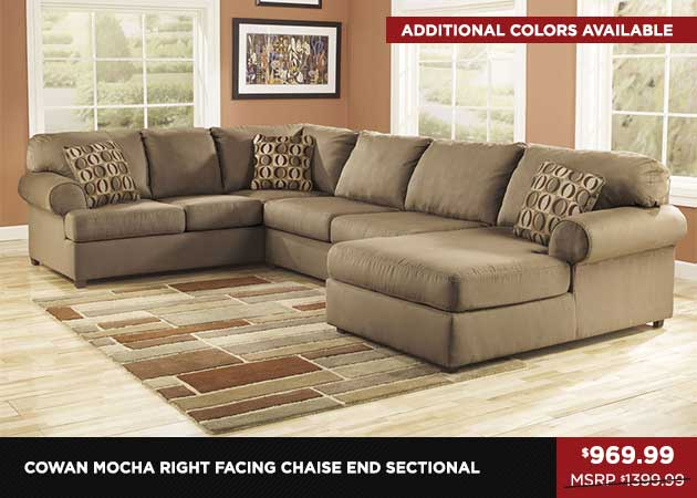 Cowan Mocha Right Facing Chaise End Sectional