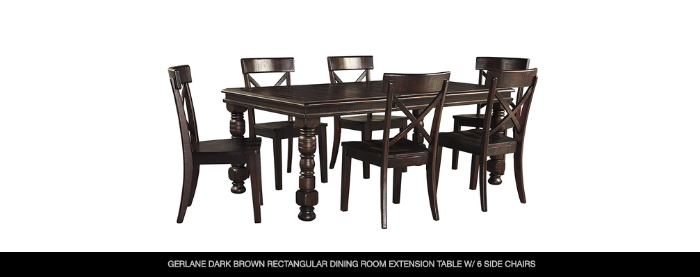 Gerlane Dark Brown Rectangular Dining Room Extension Table w/ 6 Side Chairs