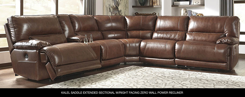 Kalel Saddle Extended Sectional w/Right Facing Zero Wall Power Recliner