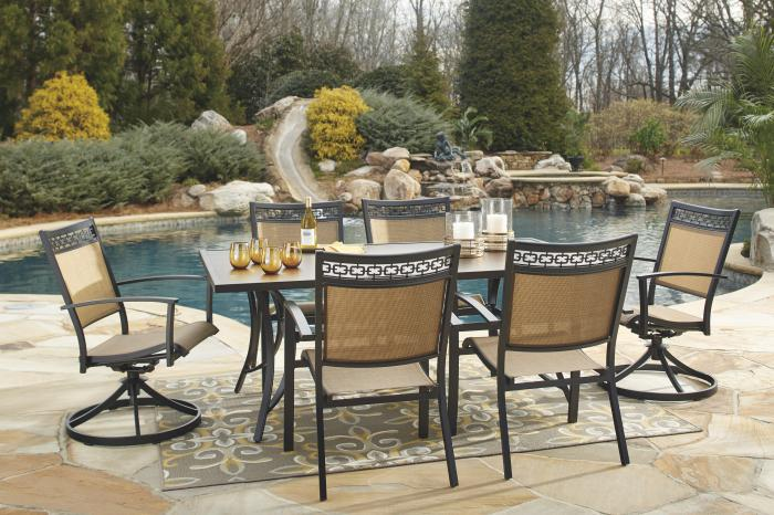 Carmadelia Rect Dining Table w/4 Sling Chairs & 2 Sling Swivel Chairs,Ashley Outdoor