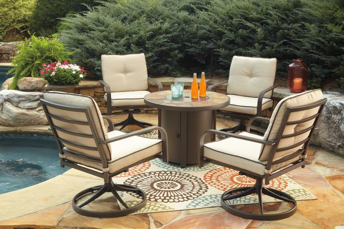 Predmore Round Fire Pit Table w/4 Swivel Lounge Chairs,Ashley Outdoor