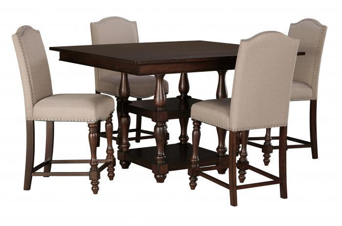 Braxenburg Brown Square Counter Table w/4 Upholstered Barstools,Store Selections