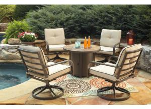 Predmore Round Fire Pit Table w/4 Swivel Lounge Chairs
