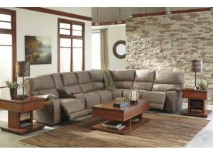 Bohannon Taupe Left Factiong Sectional w/Right Facebin Power Reclining Loveseat
