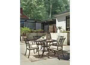 Burnella Round Dining Table w/4 Chairs with Cushion